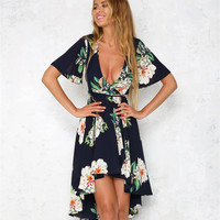 Fashion Flower Print Deep V-Neck Short Sleeve Irregular Dress
