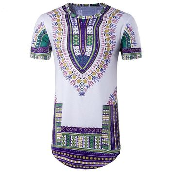 Ethnic Dashiki T Shirt Men 2017 Longline Short Sleeve O Neck Tops