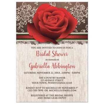 Bridal Shower Invitations - Rustic Wood Lace Red Rose Brown