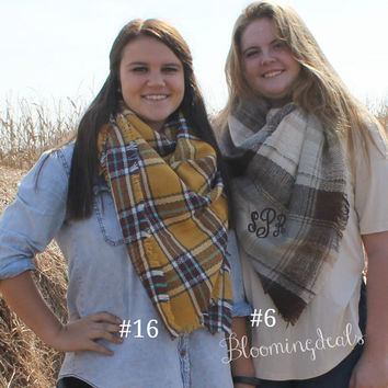 Unisex Blanket Scarf, Yellows and Browns Oversized Plaid Tartan, Monogrammed Winter Scarf, Personalized Christmas Gift Under 30 Dollars