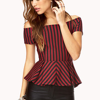 Sophisticed Stripes Peplum Top