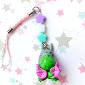 Melon Flowers Totoro Charm, Studio Ghibli Phone Charm, Anime, Kawaii Phone Strap, Pink Flower Strap, Japan, beaded charm