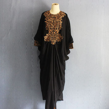 Black Kaftan Embroidery Dress Caftan, Dubai Abaya Maxi Dress with lining, Plus Size Kaftan Maternity Oversized Dress
