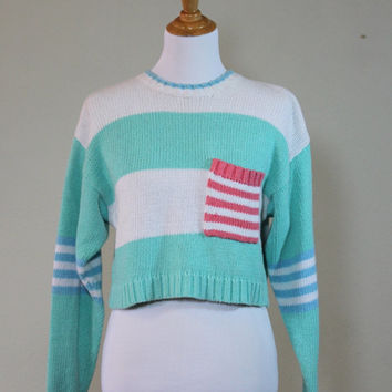 Vtg Cropped Oversized Spring Sweater Pastel Mint Green Pink Blue Small Medium Striped Long Sleeved