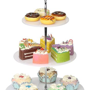 YestBuy 3 Tier Round White Acrylic Handle Cupcake Stand (Silver Crown)