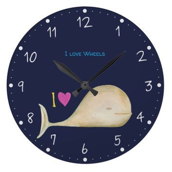 I love Wheels Large Clock