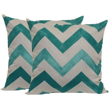 Mainstays Teal Chevron Toss Pillow, 2-Pack - Walmart.com