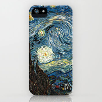 Starry Night by Vincent van Gogh. Famous impressionism  landscape oil painting. iPhone & iPod Case by NatureMatters