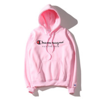 Autumn and winter tide brand cotton head Hooded sweater powder blue and black gray four - color male and female couple coat tide Pink