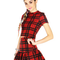 PLAID PEPLUM SKIRT