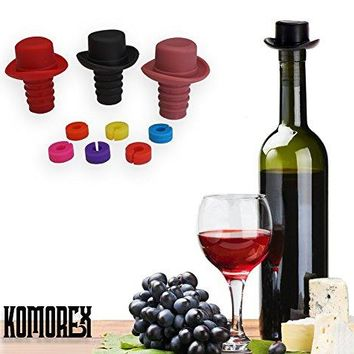 100 Food Grade Silicone Reusable Wine Bottle stopper Beer cap Wine Saver Champagne Preserver Decorative Glass Bottle Cork Set of 3 Wine Stoppers and 6 Wine Glass Charms