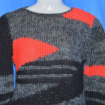 80s Gray Black Red Abstract Geometric Sweater Women's Small