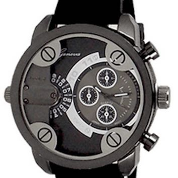 Black Mens Geneva Watch Dual Time (Little Daddy Style) W/ Diesel Cologne