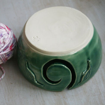 Green Yarn Bowl Ceramic Knitting Bowl with Carved Leaves Yarn Holder Ready to Ship Made in USA #3