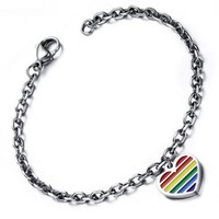 Rainbow Heart Striped Bracelet