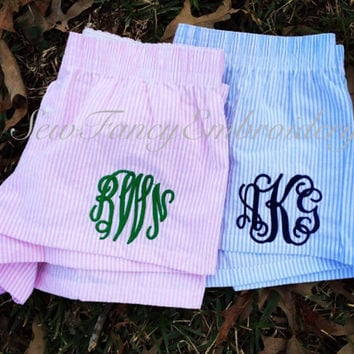 SALE!! Monogrammed Pajama Shorts, Flannel Shorts with Monogram, Boxercraft Pajamas, PJ Shorts with Monogram