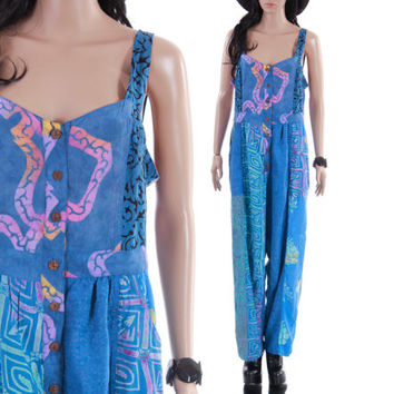 90s Tie Dye Jumpsuit Colorful Blue Patchwork Boho Hipster Baggy Overalls Ethnic Print Vintage Clothing Womens Size Medium