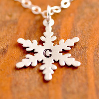 Personalized Snowflake Necklace - initial necklace, holidays, Christmas necklace, snowflake pendant, winter necklace, christmas jewelry