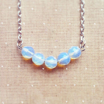 Opal Necklace Moonstone Opalite Necklace Delicate Jewelry Minimalist Jewelry Necklace Gemstone Necklace Birthstone Necklace Gems