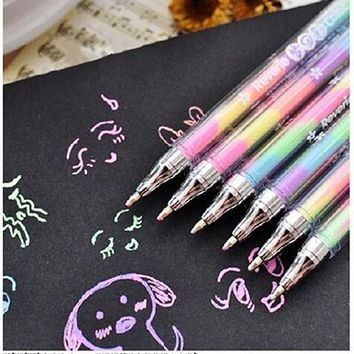 Drawing Toys for Children Cute Colorful Ink 6colors Highlighter Pen Marker Educational Learning Stationery Point Pen