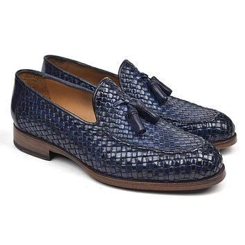 Paul Parkman Woven Leather Tassel Loafers Navy Shoes (ID#WVN44-NAVY)