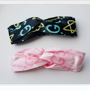 ONETOW GUCCI European and American jewelry new graffiti stars pink silk satin cross headband