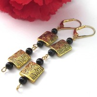 Earrings Black Onyx and Antiqued Gold Square Puff Etched Beads OOAK