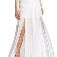 BCBGMAXAZRIA Women's Dillon Paneled Pleated Maxi Skirt, White, X-Small