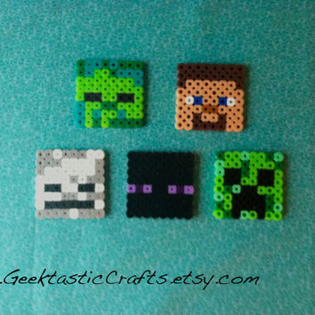 Perler Bead Minecraft Mob Set: Steve, Skeleton, Creeper, Enderman, Zombie