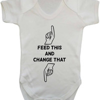 Feed This Change That Pointing Hands Baby Onesuit