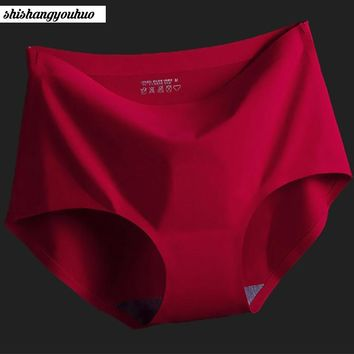 Free shipping Women's Panties ice silky Intimates seamless underwear triangle big yards of female briefs
