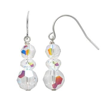 Sterling Silver Crystal Linear Drop Earrings (White)