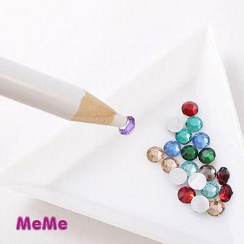 1 Piece Wax Rhinestone Pencil Gem Jewel Pen Pick Up Tool Accessories Kawaii Cabochon DecoDen on Craft Cell Phone iPhone Case DIY Deco