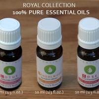 Pure essential oils set, Aromatherapy essential oils, Rose Otto, Sandalwood oil & Sacred Pink Lotus, Healing Essential Oils Royal Collection