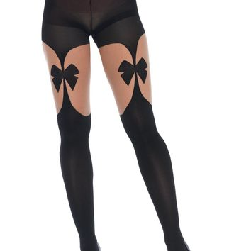 High Waist Optical Illusion Bow Garter Belt Tights