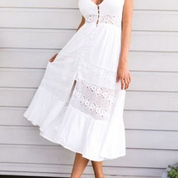 White Spaghetti Strap Lace Slit Flowy Single Breasted Beach Boho Maxi Dress