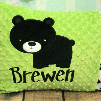Personalized Bear Toddler or Travel Pillow - You Choose Fabrics