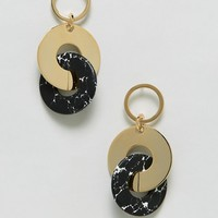Whistles Statement Metal And Marble Mix Cirlce Earring at asos.com