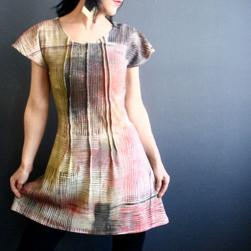 Perfect Misfit - iheartfink Handmade Hand Printed Womens Unique Short Sleeve Edgy Wearable Art Print Jersey Tunic