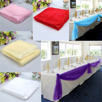 5x1.4m Organza Table Runners Wedding Party Banquet Bow Decoration 6 Colors [7983316935]