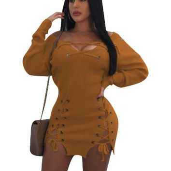 LaceUp Sweater Dress