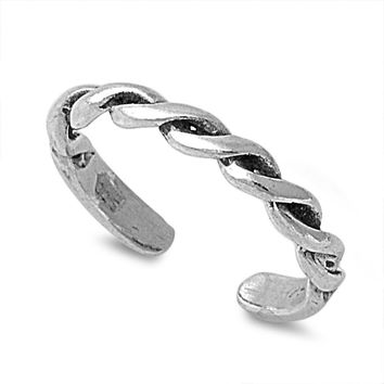 Sterling Silver Coil Design 2MM  Toe Ring/ Knuckle/ Mid-Finger