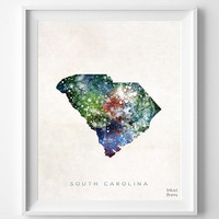 South Carolina Map, Columbia Poster, Painting, Watercolor, Nursery, Room, Home Town, Wall Art, USA, United States, Decor, Gift [NO 376]