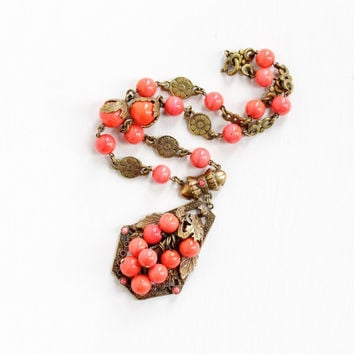 Vintage Art Deco Pink Glass Grape & Leaf Floral Cluster Necklace - 1930s Brass Coral Glass Lavalier Filigree Flower Costume Jewelry