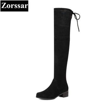 {Zorssar} 2018 New winter fur Women shoes Round Toe Thick heel Knight boots Kid Suede Mid heel womens over-knee snow boots