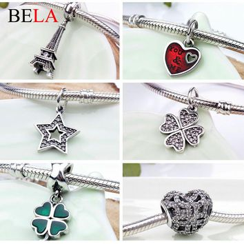 Original Fashion Jewelry European 925 Sterling Silver Lucky Clover Dangle Beads Charms