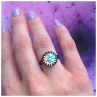 Mermaid scale iridescent AB ring, adjustable, your choice of clear/pink or green