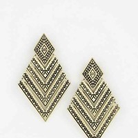 Geo Diamond Drop Earring- Gold One