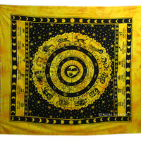 Yellow Queen Astrology Horoscope Zodiac Indian Tapestry Bedspread