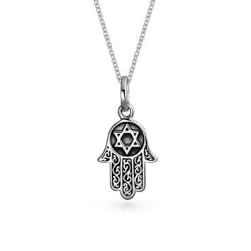 Hamsa H Star Of David Filigree Pendant Necklace Black Sterling Silver